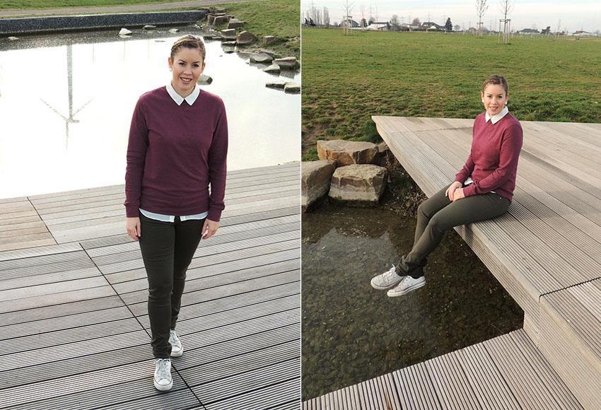 Bordeaux Pullover, Bluse unter Pullover, Holländischer Zopf, Blog Köln
