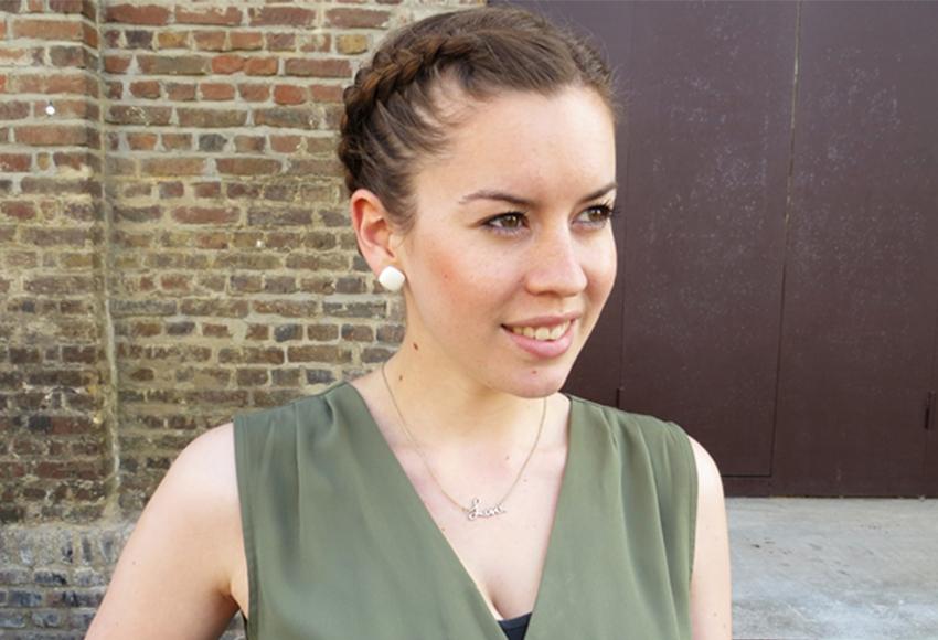 khaki Kleid, military Style, französischer Zopf, Oktoberfest-Frisur, Modeblog