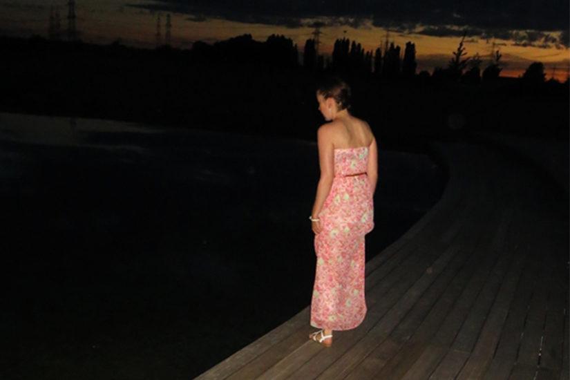 Blumenprint, Maxi-Kleid, Bandeau Kleid, langes Kleid, Modeblog