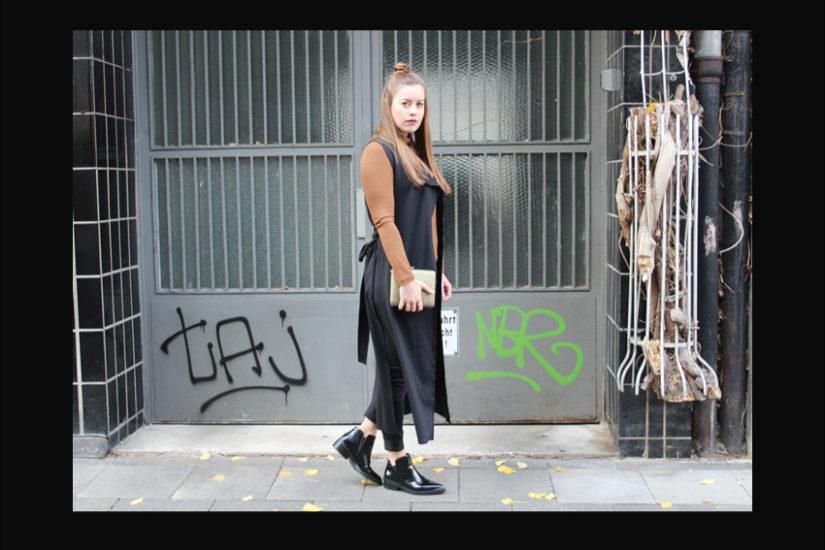 Lange schwarze Weste, der Modeblog aus Köln