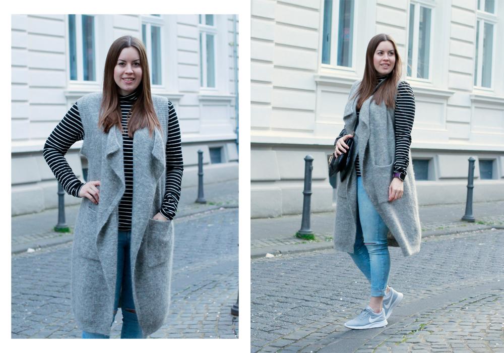 Graue Nike Sneaker und Langweste: Frühlingslook to go - La Mode et Moi, der Modeblog aus Köln