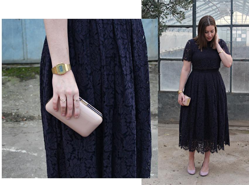 Mein Outfit für Weihnachten: Dunkles Spitzenkleid - La Mode et Moi, der Modeblog aus Köln