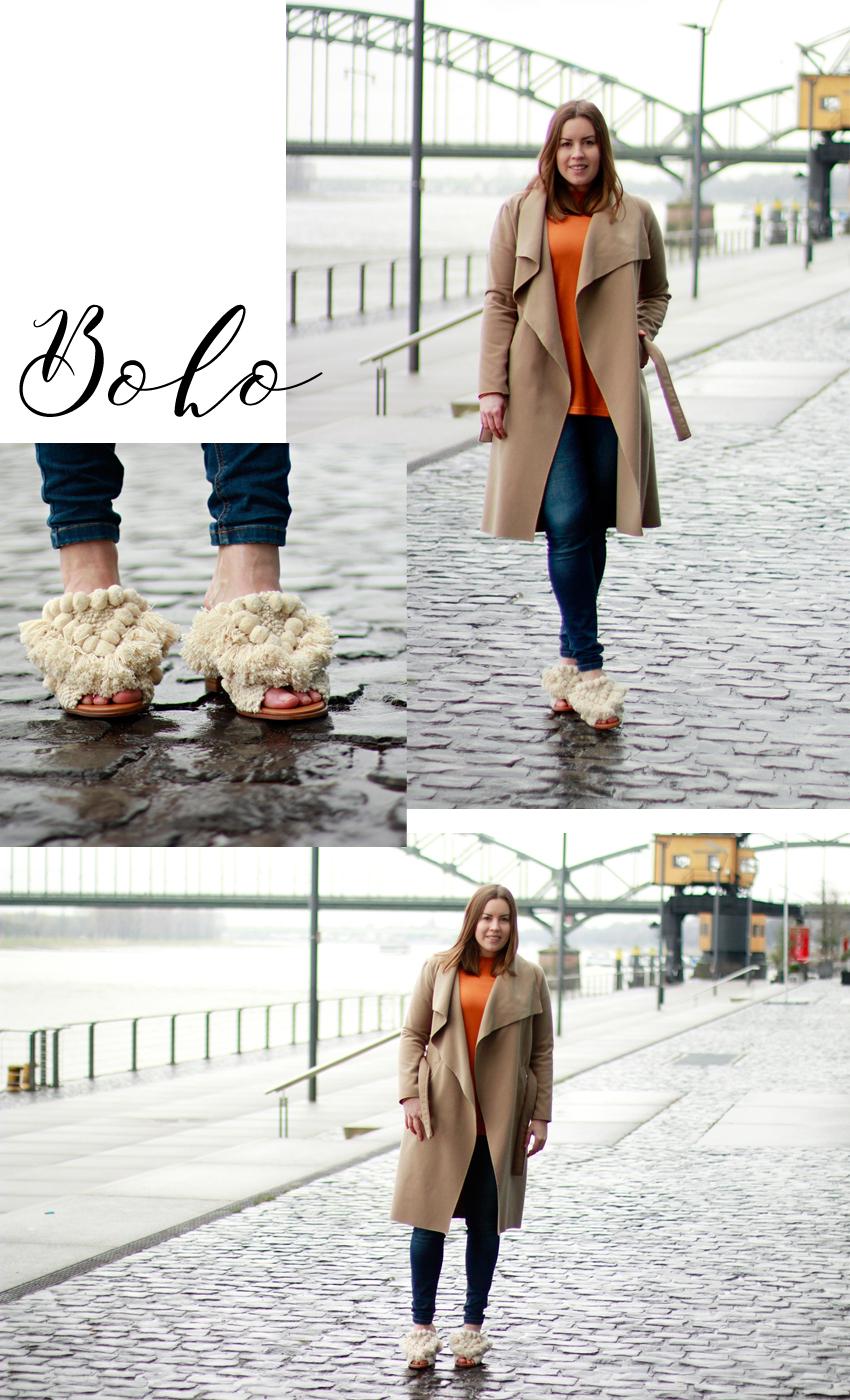 Pantolette mit Pompoms, Pantolette mit Absatz, Blockabsatz, Absatz in Holzoptik, Pantoletten, Blog Köln, Fashionblogger, Boho Sandalen, Mules, Mules-Trend, Boho Pantolette