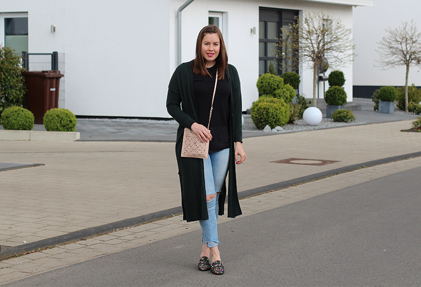 Slipper, Schuh-Trend, Sommer Schuhtrend, Shoe Trend, Slipper Trend, Modeblog, gesteppte Tasche, ripped Jeans, Topshop Jeans, Long-Cardigan
