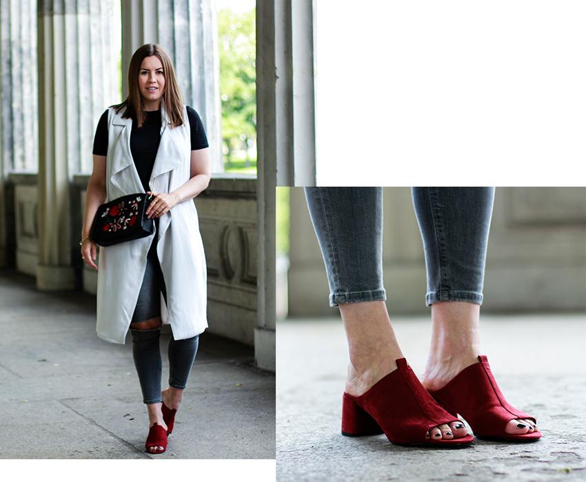 Blazer-Weste mit roten Mules - LA MODE ET MOI, der Modeblog