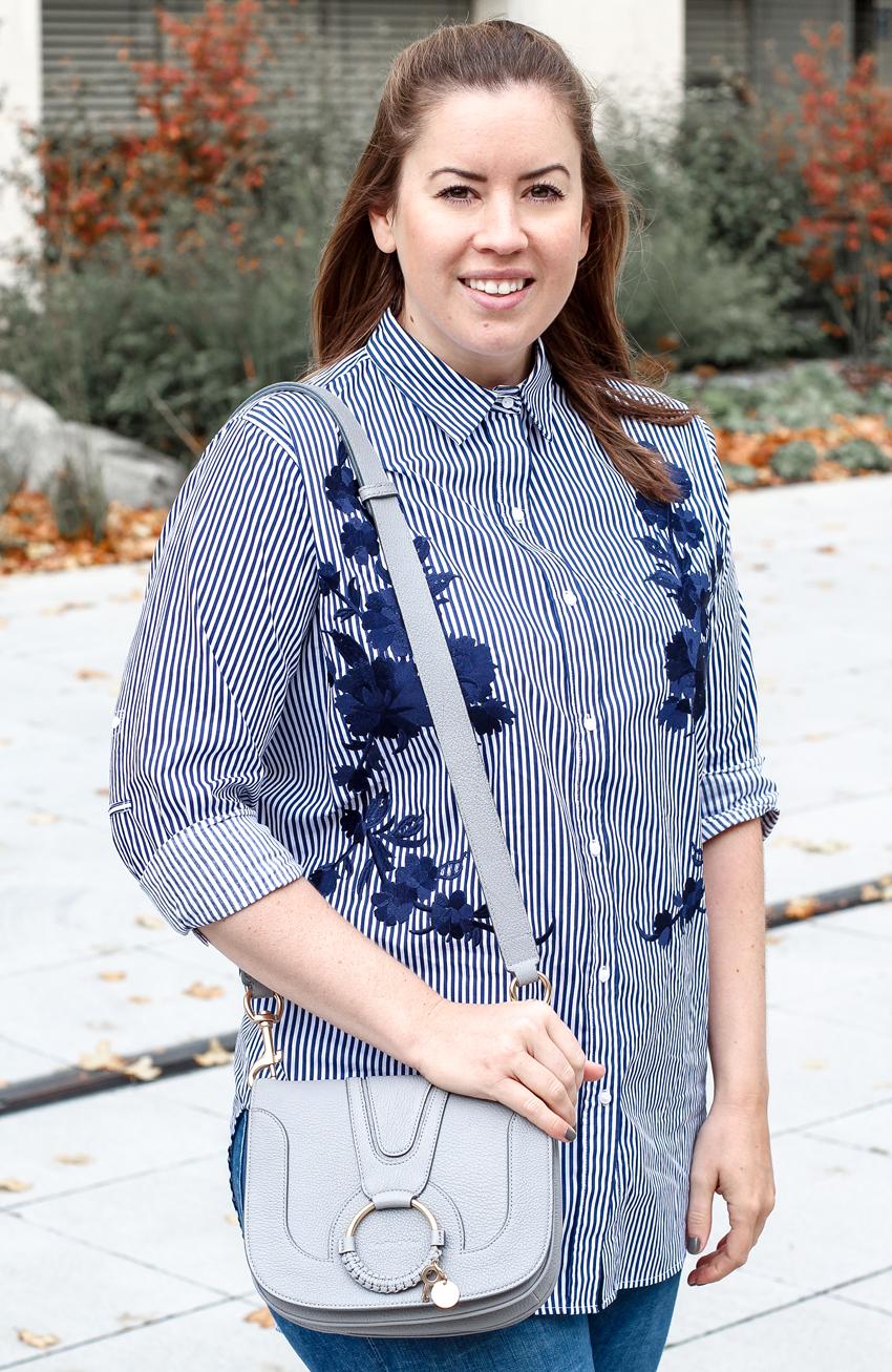 blau gestreifte Bluse mit Stickerei - LA MODE ET MOI, der Modeblog