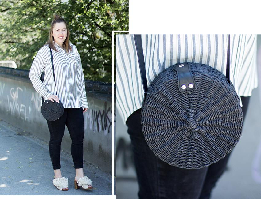 Runde Korbtasche in schwarz - LA MODE ET MOI, der Modeblog