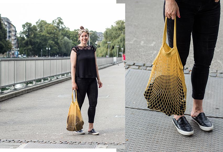 Gelbe Netz-Tasche zum All Black Look - LA MODE ET MOI, der Modeblog