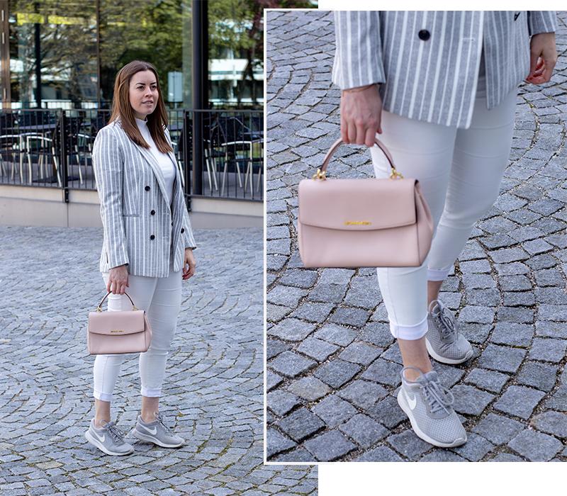 Weiß-Grau gestreifter Blazer - LA MODE ET MOI, der Modeblog