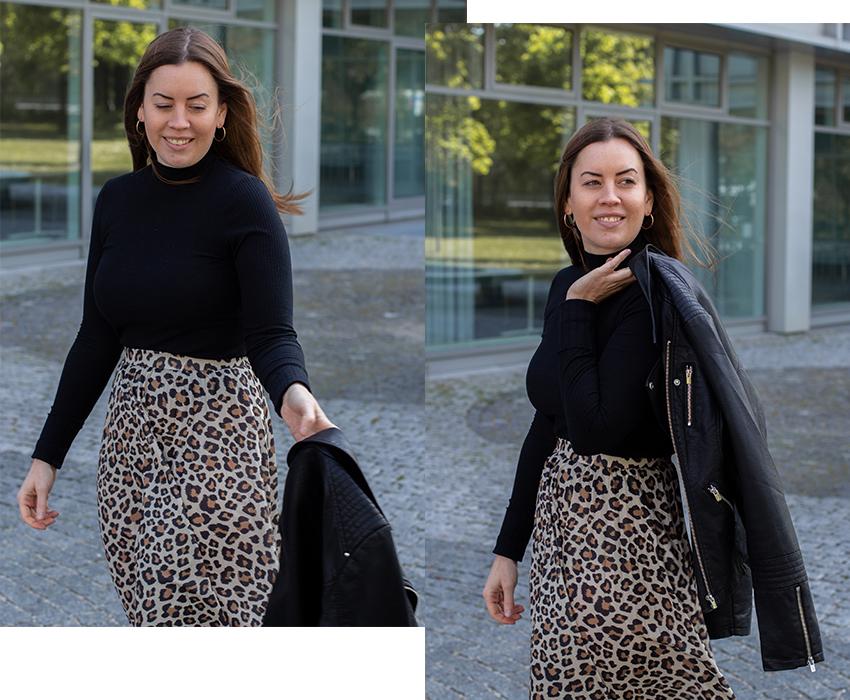 Leo-Rock und Fake-Lederjacke - LA MODE ET MOI, der Modeblog