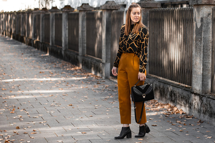 Gemusterte Hemdbluse, Culotte & gesteppte Tasche - THE BUTTON by Emilie, der Modeblog